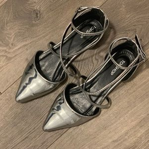 TOPSHOP: silver metallic pointed flats